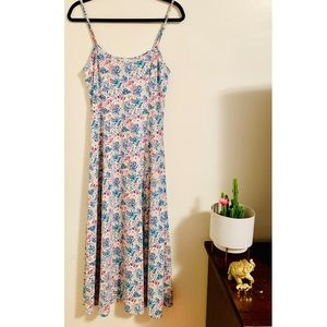 90's Floral Spaghetti Strap Maxi Dress